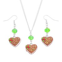 MJartoria Heart Mousse Cake Pendant Adjustable Cuban Chain Necklace with Matching French Wire Earrings
