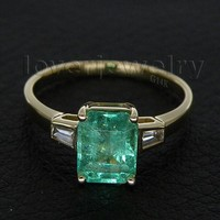 New Solid 14Kt Gold Natural Diamond Colombia Emerald Wedding Engagement Rings For Sale WU197