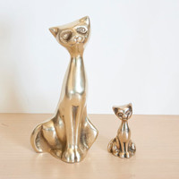 Vintage Pair of Brass Cat Figurines, Mom and Kitten Family, Mid Century Animal Statue, Hollywood Regency Gold Tone