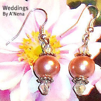 Wedding Earrings For Bridesmaid Blushing by ANenaJewelry on Etsy