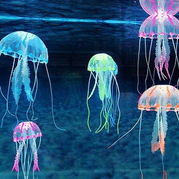 deals] Beautiful Aquarium Decorative Glowing Effect Simulation Jellyfish Fish Tank Ornament [7669990342]