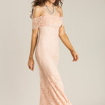 Delilah Peach Off the Shoulder Lace Maxi Dress