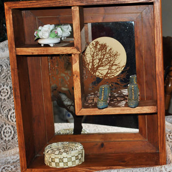 Wood Shadow Box -Collectibes Display-Trinket Holder-Handmade-Rustic-Primitive-Recycled Etched Mirror- Home Decor-Country-Cottage
