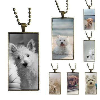 Brand Bronze Color Jewelry Fashion Statement Necklace Glass Necklaces Pendants For Women Westie Dog Pup Puppy Pooch Love
