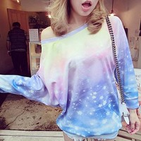 Gradient Star long-sleeved sweater (Photo Color)