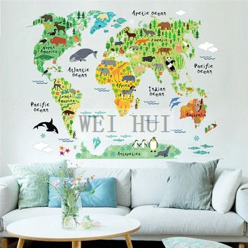 World Map global animal Vinyl Mural Decal Wall Sticker for Glass Window Living Room Home
