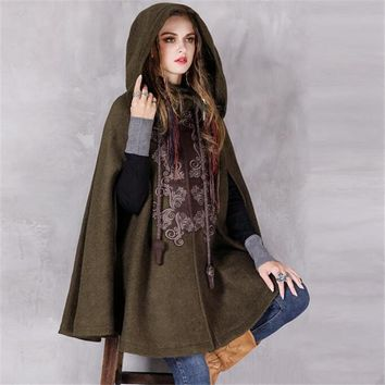Europe America Style Women's Winter New Vintage Warm Woolen Hoodie Cloak Coat Embroidered Loose Long Coat Wool Cape Outerwear