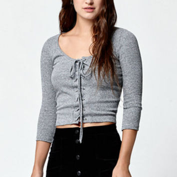 LA Hearts Lace-Up Knit Long Sleeve Top at PacSun.com