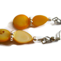 Eco-friendly Sunny Yellow Mother of Pearl Shell Earrings Teardrop Silver Beaded Jewelry