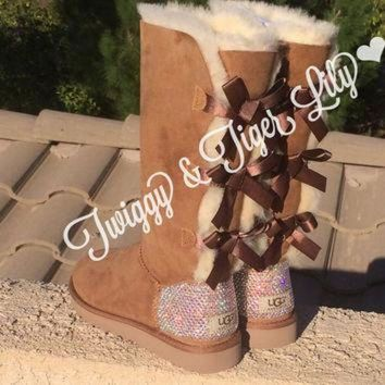 CUPUPS NEW - Chestnut TALL Bailey Bow Uggs With Swarovski Crystal Bling Embellishment - Cryst