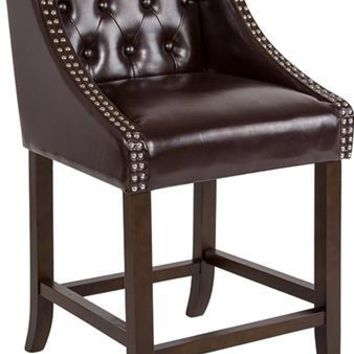 "Carmel Series 24"" High Transitional Tufted Walnut Counter Height Stool with Accent Nail Trim in Brown Leather"