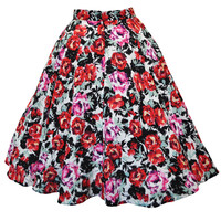 Red Rose Floral Swing Skirt