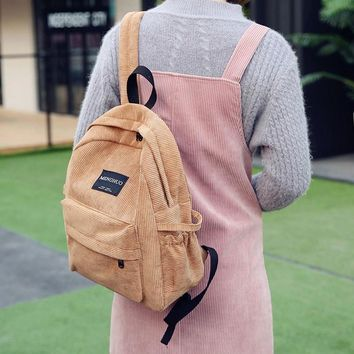 Fashion Girl College Wind Schoolbag Women Harajuku Thicker Corduroy Backpack Female Design Casual All-Match Toile Bag Bookbags