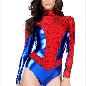 New Masquerade Anime Cosplay Fashion Women Sexy Long Sleeve Spiderman Bodycon Jumpsuit, Halloween Costumes