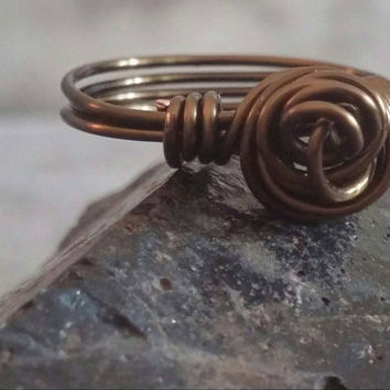 Hippie Ring | Knot Ring | Rose Ring | Wire Wrap Ring | Copper Wire Ring | Ecochic Ring | Bohochic Ring | Size 6