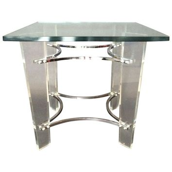 Pre-owned Charles Hollis Jones Lucite and Chrome Side Table