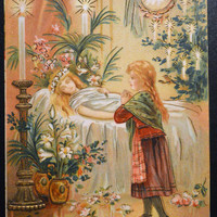 Fröhliche Weihnachten German Jolly Christmas Postcard Ethereal Card Angel and Child