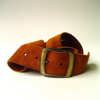 Boho vintage Wide Rust Brown Suede Belt