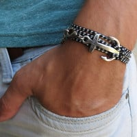 Men's Bracelet - Men's Anchor Bracelet - Men's Black And White Bracelet - Mens Jewelry - Bracelets For Men - Jewelry For Men - Gift for Him