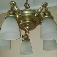 Antique Brass Pan Chandelier 5 Shades Rewired Very Nice Condition 1920s