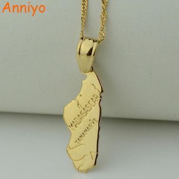 Anniyo pendant 3.2cmX1.cm / madagascar map necklace pendant for women Gold Color Jewelry Africa Malagasy Maps Fashion
