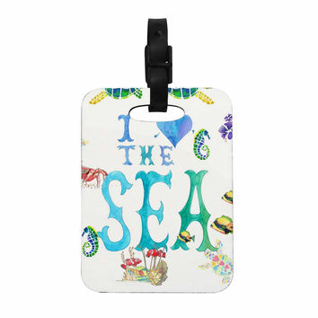 """Catherine Holcombe """"I Love The Sea"""" Ocean Typography Decorative Luggage Tag"""