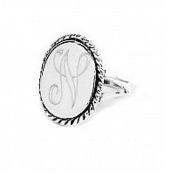 "Sterling Silver Oval 0.70"" x 0.50"" Ring with Rope Accent"