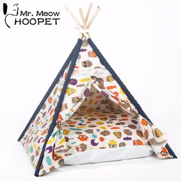 All Seasons Pet Owl Printed Indoor Indian Teepee Kennels Dog Cat Kitten Tent House Bed with Cushion Pet Burrow Kittey Cozy Cave