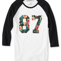 3/4 Sleeve Floral 87 Raglan Graphic T