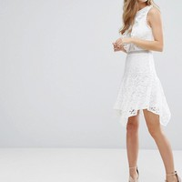 Miss Selfridge Asymmetric Hem Lace Dress at asos.com