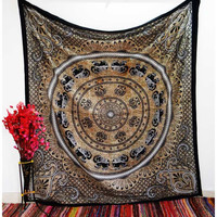 Elephant Mandala Brown Tapestry Wall Hanging Bedspread – TheNanoDesigns