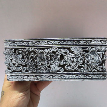 Indian wooden hand carved textile printing on fabric block / stamp unique vintage carving fine floral Border strip pattern