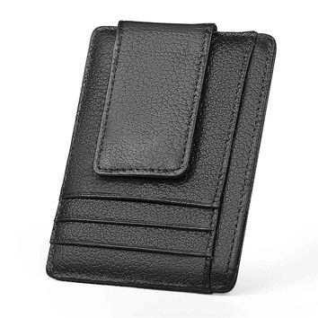 100%Genuine Cowhide Wallet Men Leather vintage Designer Cluch High Quality MalePurse Short Money Clip with RFID Function