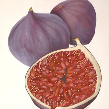Figs String Art Painting - Mixed Media Original Still Life Abstract of Fruit