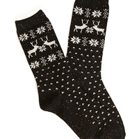FOREVER 21 Speckled Reindeer Crew Socks Black/Multi One
