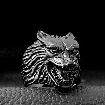 Wolf Head Stainless Steel Mens Ring - Gold, Black Color