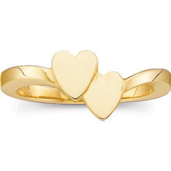14K Yellow Double Heart Signet Ring