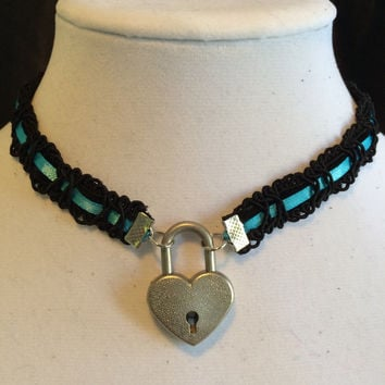 14.5 inch SKY BLUE Satin Ribbon and Black Velvet submissive Day Collar with Working Heart Padlock
