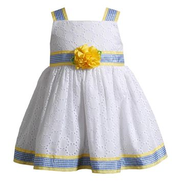 Youngland Eyelet Flower Dress - Baby Girl, Size: