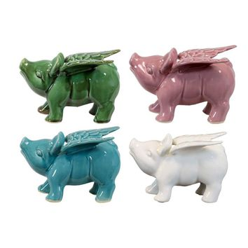 Ceramic Winged Pigs Assortment Of Four Assorted Color