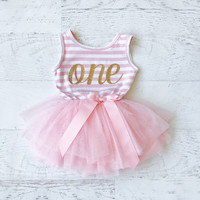 First Birthday Outfit Girl, Tutu Dress, Pink and Gold First Birthday Outfit, Girls First Birthday Outfit, Tutu, Pink Tutu, Pink and Gold