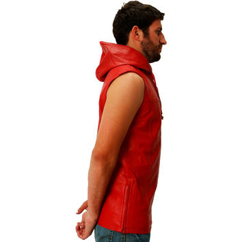 Mens Leather Shirt Red Hooded Hoodie Zip up Sleeveless Tee Nappa Sheepskin