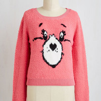 Vintage Inspired Short Length Long Sleeve Grin and Care It Sweater