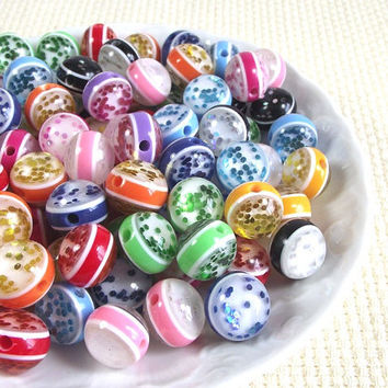 18mm Multi-colored Resin Glitter Striped Round Beads 10pcs