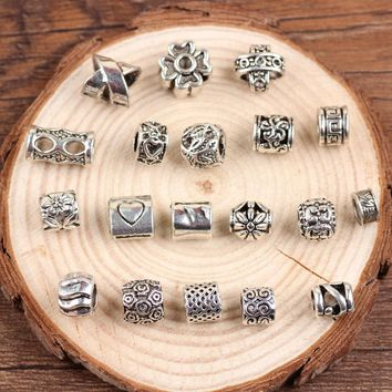 19PCS Mix Design Tibetan Silver Style Dreadlock Dread Hair Beads