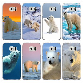 Soft TPU Mobile Phone Case for Samsung Galaxy Note 2 3 4 5 8 S3 S4 S5 Mini S6 S7 S8 S9 Edge Plus Shell Lovely White Polar Bear