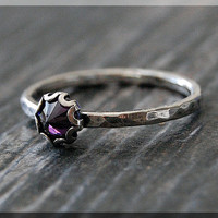 Amethyst Ring, READY TO SHIP, Size 6.5, February Birthstone Ring, Mini Inverted gemstone ring, Sterling Silver Ring, Amethyst Stacking Ring