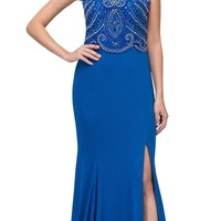 Royal Blue Sleeveless ITY Long Formal Dress Beaded Bodice