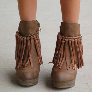 Fringe Zepp Wedge Bootie - Taupe from ShopbellaC | boots