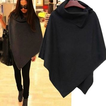 New Korean Women Autumn Coat Ladies Batwing Wool Casual Poncho Winter Coat Jacket Loose Cloak Cape Outwear